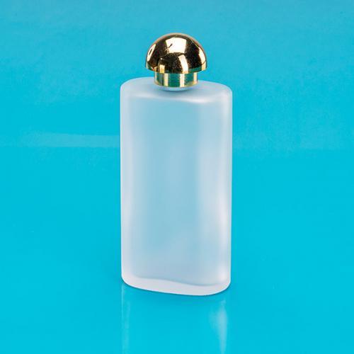 100 ml Glas-Flasche, oval, edelmatt, E5 Schraubverschluss gold,  Form: Pilz