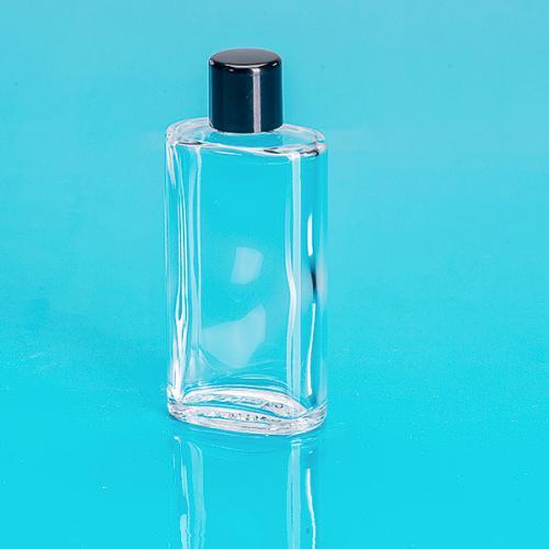 50 ml Glas-Flasche, oval, klar Schraubverschluß einwandig, schwarz
