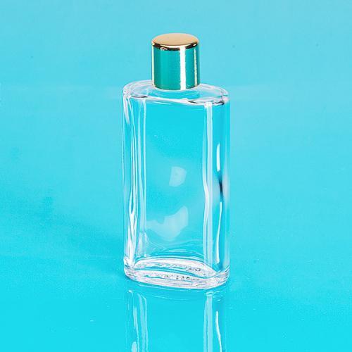 50 ml Glas-Flasche, oval, klar Schraubverschluß einwandig, gold