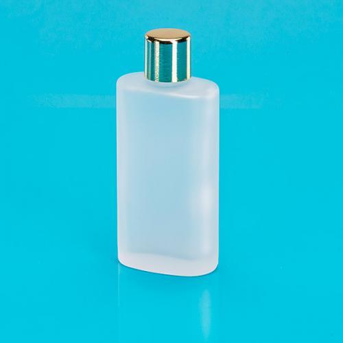 50 ml Glas-Flasche, oval, edelmatt Schraubverschluß einwandig, goldf.
