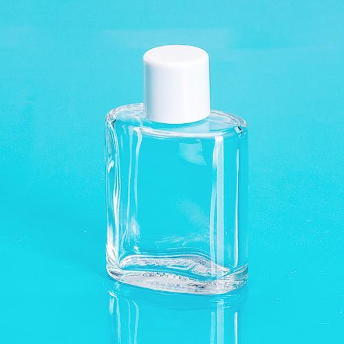 30 ml Glas-Flasche, klar, oval Schraubverschluß einwandig, weiß