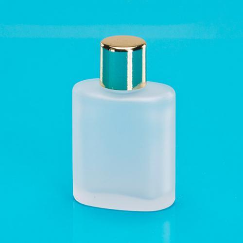 30 ml Glas-Flasche oval, edelmatt Schraubverschluß einwandig gold