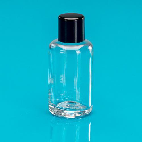 30 ml Glas-Flasche klar, zylindrisch Schraubverschluss einwandig schwarz
