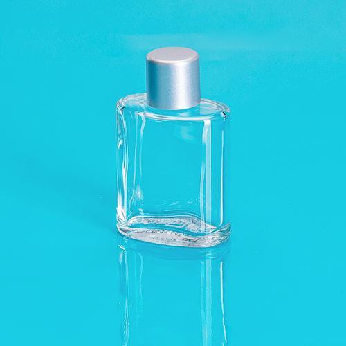 30ml Glasflasche, klar, oval Schraubverschluß einwandig matt silber