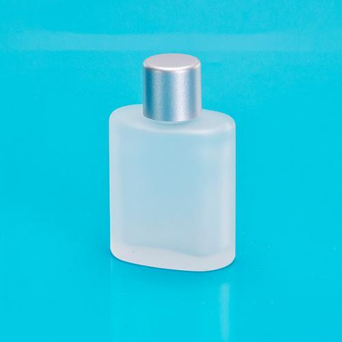 30 ml Glasflasche, matt, oval Schraubverschluß einwandig matt silber