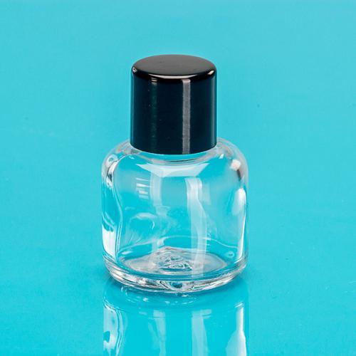 15 ml Klarglas-Flasche rund E5 einwandig Schraubverschluss schwarz