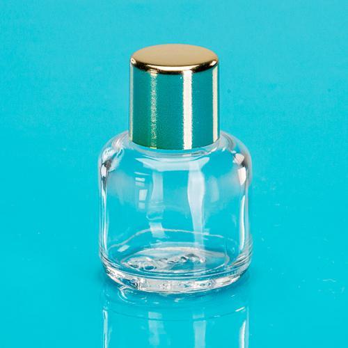 15 ml Klarglas-Flasche rund E5 einwandig Schraubverschluß gold