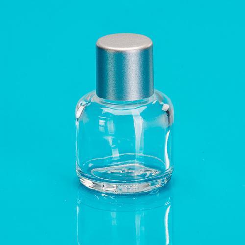 15 ml Klarglas-Flasche rund E5 einwandig Schraubverschluß silber
