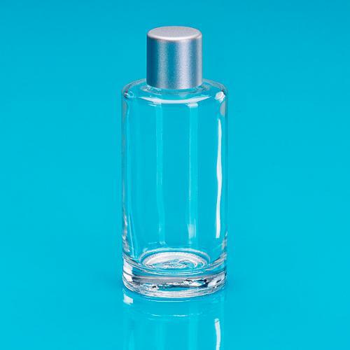 50 ml Klarglas-Flasche rund E5 einwandig Schraubverschluss silber