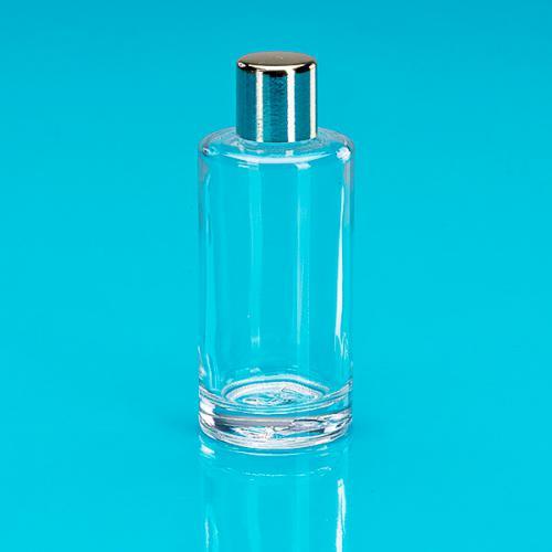 50 ml Klarglas-Flasche rund E5 einwandig Schraubverschluss gold