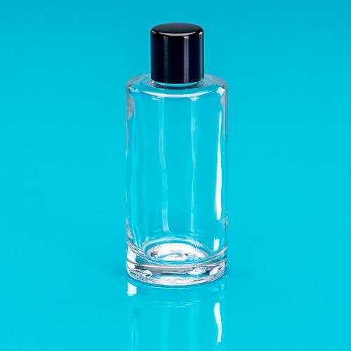 50 ml Klarglas-Flasche rund E5 einwandig Schraubverschluss schwarz
