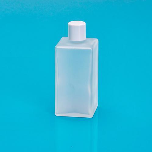 100 ml Glas-Flasche matt viereck Schraubverschluß einwandig weiß