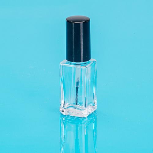 8 ml Nagellackflasche Klarglas viereckig Schraubverschluß schwarz  Pinsel