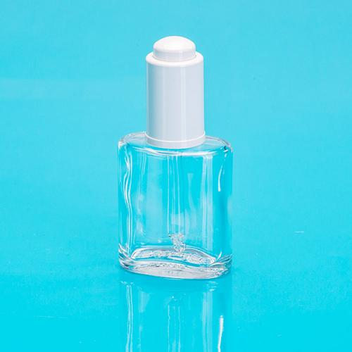 30ml Glas-flasche oval,klar E5 Dropper weiß mit Glaspipette, unmontiert