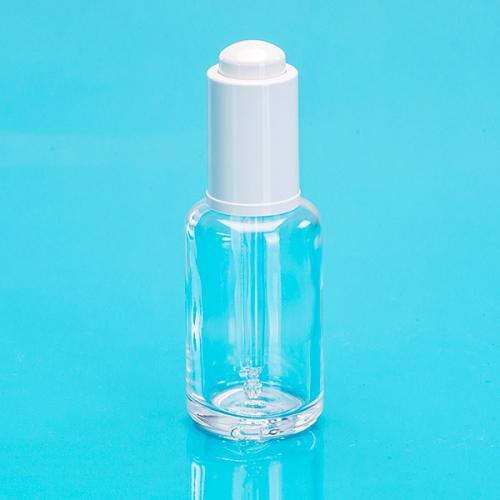 30 ml Glas-Flasche, klar, rund, E5 Dropper weiß, Glaspipette, unmontiert