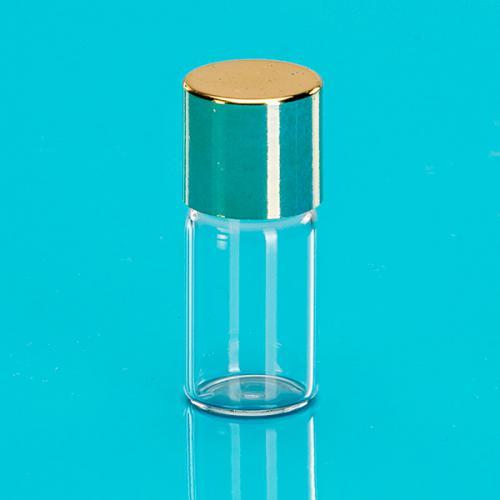 """3 ml Flasche-Glas klar zylindrig Schraubverschluss einwandig gold """"Aroma"""""""