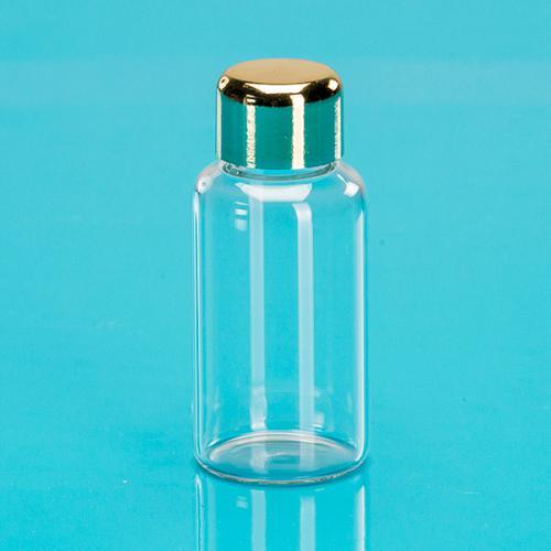 """25 ml Glas Flasche glasklar rund Schraubverschluß gold """"Aroma"""""""