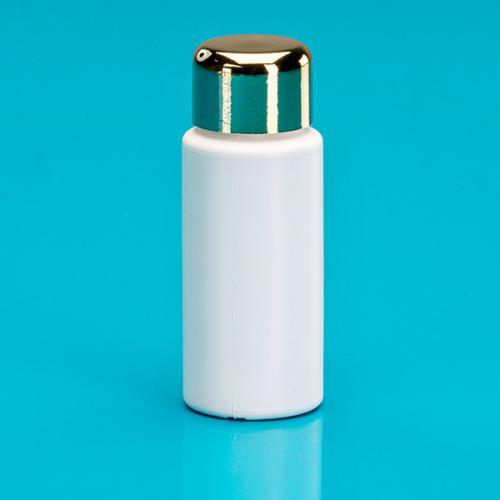 20 ml bottle white LDPE,  single-wall-lid DIN 18, golden