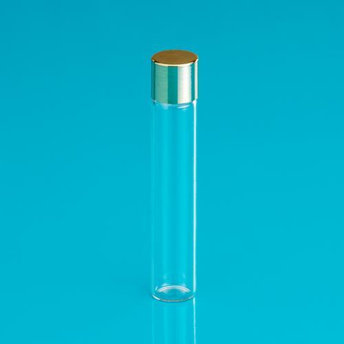 10 ml bottle clear-glass,  screw-lid gold