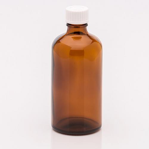 100 ml Braunglasflasche Schraubverschluss weiß, Dichteinlage