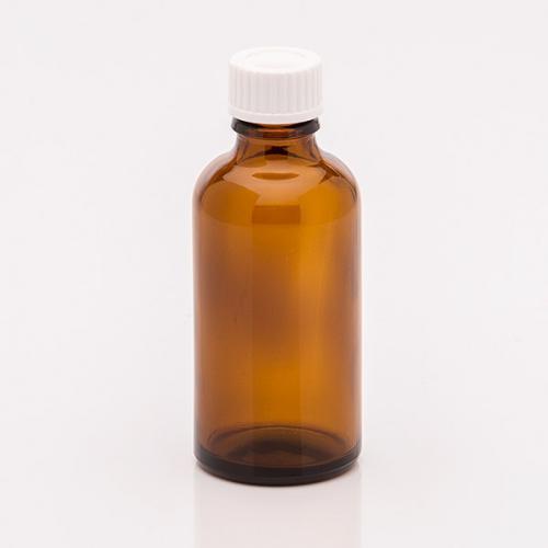 50 ml  Braunglasflasche  Schraubverschl. weiß, Dichteinlage