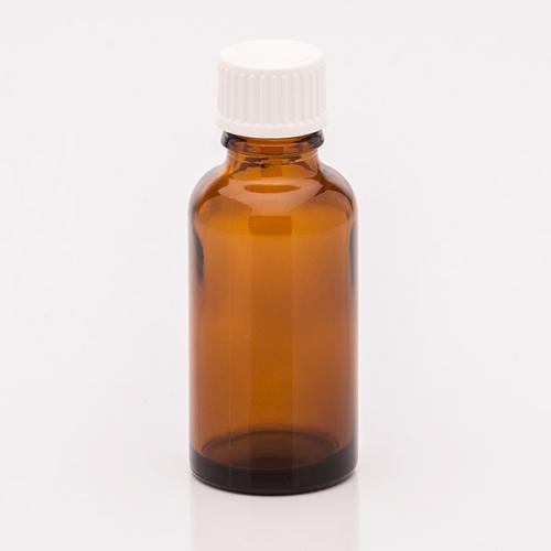 30 ml Braunglasflasche, Schraubverschl., weiß, Tropfeinsatz weit