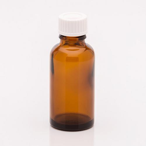 30 ml Braunglas-Flasche, weiße Schraubkappe mit Dichteinlage