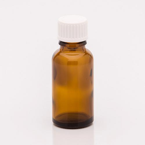 20 ml Braunglasflasche Schraubverschl. weiß Tropfeinsatz, f. wässrige u. ölige Lösungen