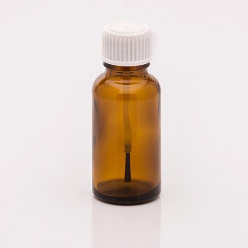 20 ml Braunglasflasche  Schraubkappe weiß Pinsel