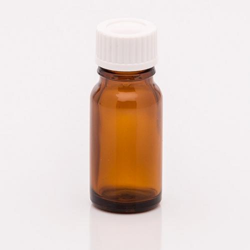 10 ml Braunglasflasche, DIN18 Schraubverschluß mit Dichteinlage weiß
