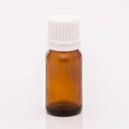 10 ml Braunglasflasche, Originalitätsverschluss Tropfer f. wässrige u. ölige Lösungen