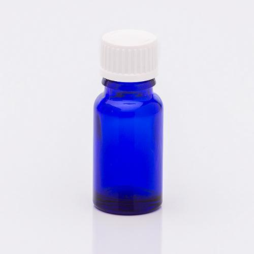 10 ml Blauglasflasche, Schraubverschluss weiß, Tropfeinsatz wässrige u. ölige Lösungen