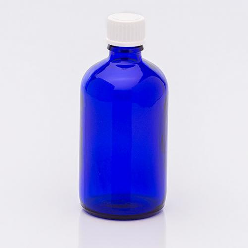 100 ml Blauglasflasche Schraubverschl. weiß, Tropfeinsatz eng