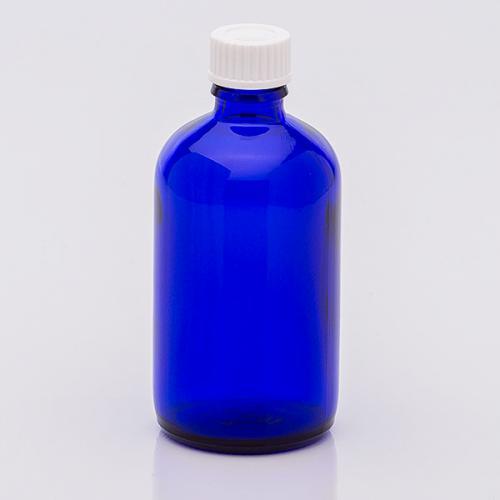 100 ml Blauglasflasche Schraubverschl. weiiß, Dichteinlage