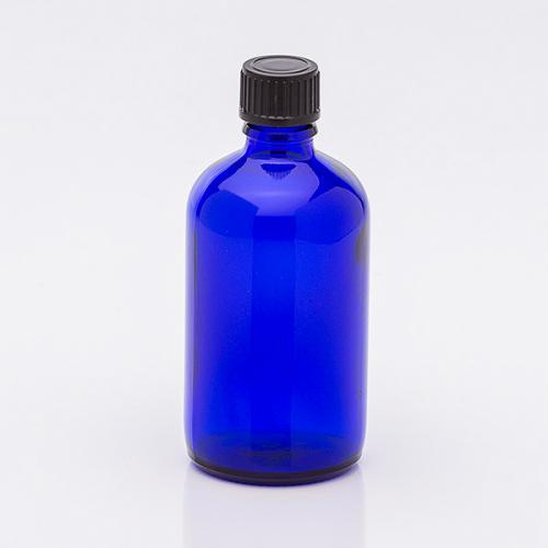 100 ml Blauglasflasche, Schraubverschl. schwarz, Troper f. wässrige u. ölige Lösungen