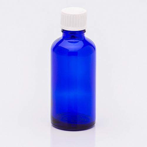 50 ml Blauglasflasche, Schraubverschl. weiß, Tropfer weit
