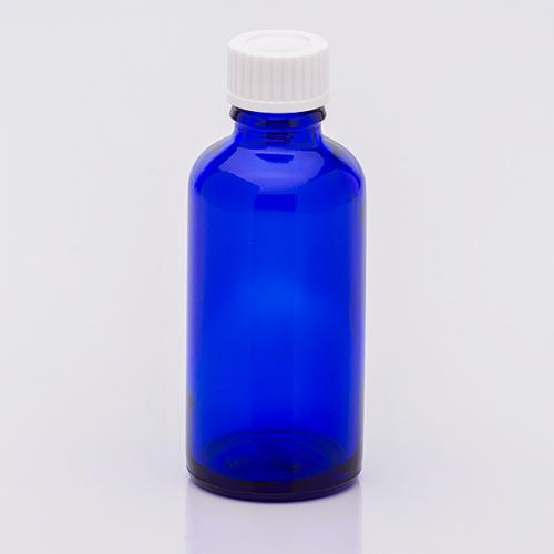 50 ml Blauglasflasche Schraubverschluss weiß, Dichteinlage