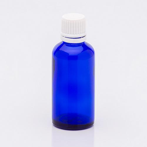 50 ml Blauglasflasche  OV-Verschluß weiß, Tropfeinsatz