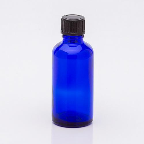 50 ml Blauglasflasche, Schraubverschl. schwarz, Tropfer weit