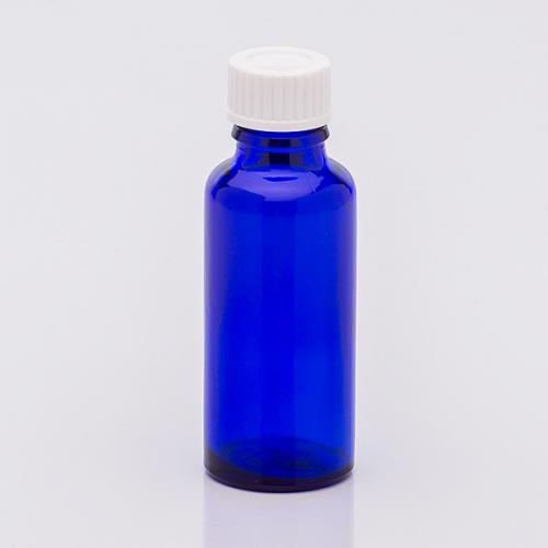 30 ml Blauglasflasche Schraubverschl. weiß, Dichteinlage