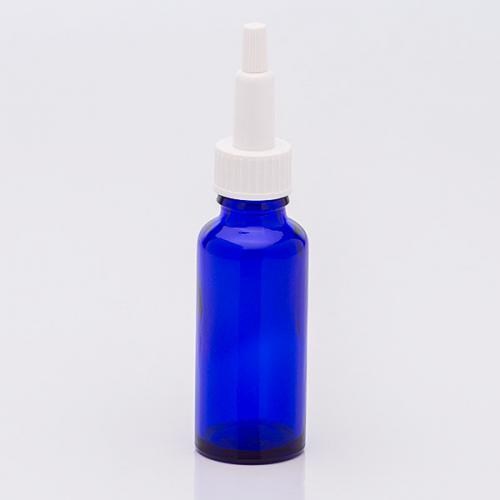 30 ml Blauglasflasche, Schraubkappen-Pipette weiß