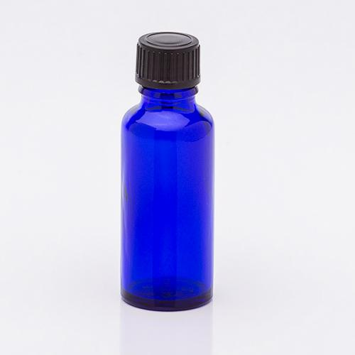 30 ml Blauglasflasche Schraubverschl. schwarz, Tropfer weit