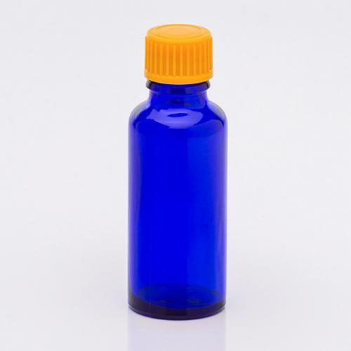 30 ml Blauglasflasche Schraubverschl. orange, Tropfer weit