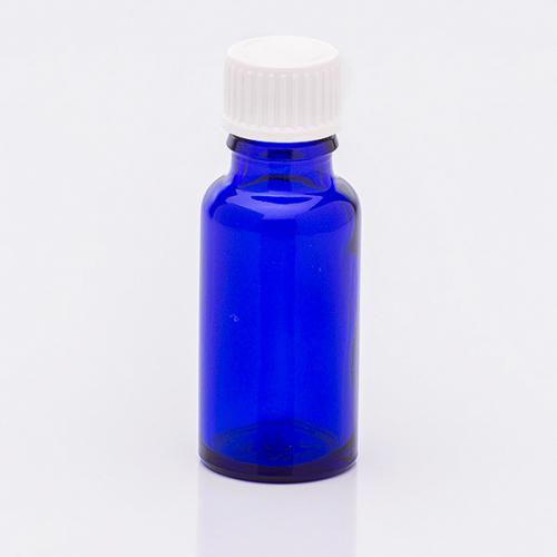 20 ml Blauglasflasche Schraubverschl. weiß , Troper weit