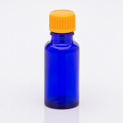 20 ml Blauglasflasche Schraubverschluss orange, Tropfer weit