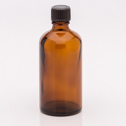 100 ml Braunglasflasche Schraubverschluss schwarz, Tropfer weit