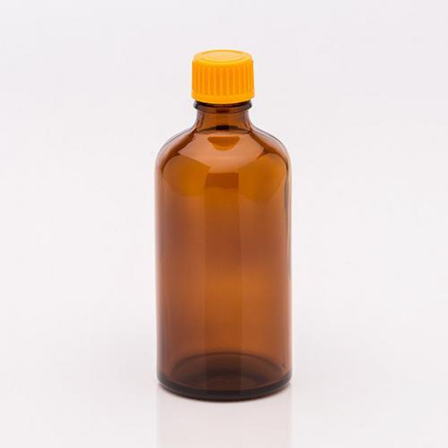 100 ml Braunglasflasche Schraubverschluss orange, Tropfer weit