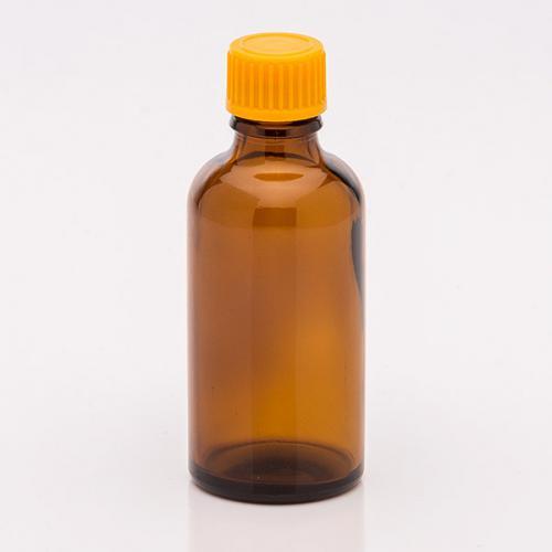 50 ml Braunglasflasche Schraubverschluss orange, Tropfer weit