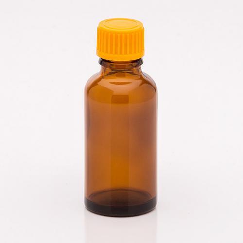 30 ml Braunglasflasche Schraubverschluss orange, Tropfer weit