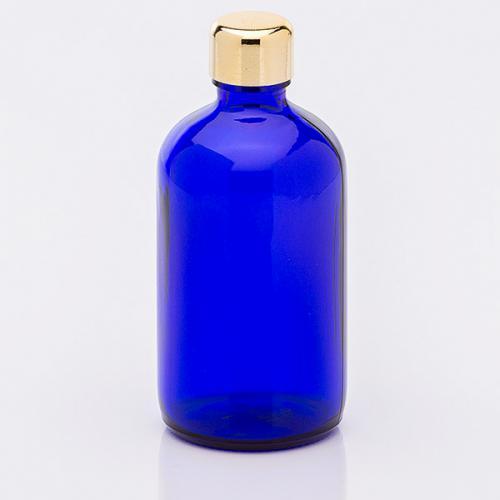 100 ml Blauglasflasche Schraubverschl goldf.